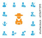 Set Of 13 Position Icons Set...