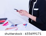 female office workers are using ... | Shutterstock . vector #655699171