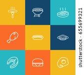 set of 9 dish outline icons set.... | Shutterstock .eps vector #655699321