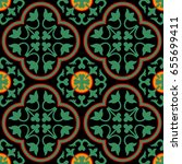 tile lotus pattern antique with ... | Shutterstock .eps vector #655699411
