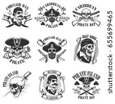 pirate emblems on white... | Shutterstock .eps vector #655699465