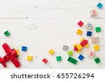 top view on wooden cubes with... | Shutterstock . vector #655726294