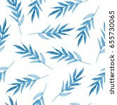 pattern with blue hand painted... | Shutterstock . vector #655730065