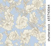 seamless pattern with poppy...   Shutterstock .eps vector #655743064