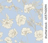 seamless pattern with poppy... | Shutterstock .eps vector #655743094