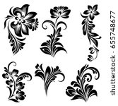 Beautiful black and white vector set of decorative isolated floral elements for design and tattoo in a folk style