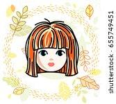 girls face  human head. vector... | Shutterstock .eps vector #655749451