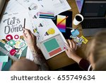 group of people brainstorming... | Shutterstock . vector #655749634