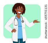 black female doctor smiling and ... | Shutterstock . vector #655751131