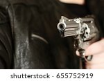 man with hand gun pistol rubber ... | Shutterstock . vector #655752919