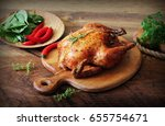 whole roasted chicken on... | Shutterstock . vector #655754671