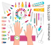 nail polishes  instruments for... | Shutterstock .eps vector #655757701