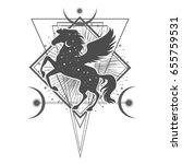 ethnic tribal horse. spiritual  ... | Shutterstock .eps vector #655759531