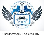 heraldic sign created using... | Shutterstock .eps vector #655761487