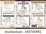 coffee background different... | Shutterstock .eps vector #655765981