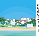 the image of a coastal town.... | Shutterstock .eps vector #655767571