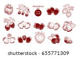 vector hand drawn strawberry... | Shutterstock .eps vector #655771309