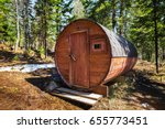 wooden mobile russian bathhouse ... | Shutterstock . vector #655773451