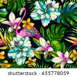 animals and tropical flowers.... | Shutterstock . vector #655778059