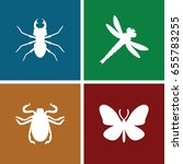 insect icons set. set of 4...