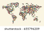 world map with morocco ornament.... | Shutterstock . vector #655796209