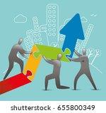 men piecing together upward... | Shutterstock .eps vector #655800349