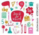 back to school icons hand drawn ... | Shutterstock . vector #655814011