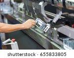 operator bending metal sheet by ... | Shutterstock . vector #655833805