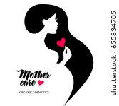 beautiful pregnant profile... | Shutterstock .eps vector #655834705