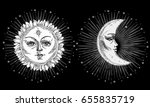 sun and moon with face stylized ... | Shutterstock .eps vector #655835719