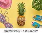 fashion pineapple. bright... | Shutterstock . vector #655836409