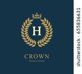 wreath monogram luxury design ... | Shutterstock .eps vector #655836631