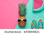 fashion hipster pineapple fruit.... | Shutterstock . vector #655844821