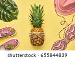 fashion pineapple. bright... | Shutterstock . vector #655844839