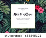 tropical vector wedding... | Shutterstock .eps vector #655845121