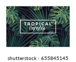 dark vector tropical typography ... | Shutterstock .eps vector #655845145