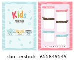 kids menu card with cartoon... | Shutterstock .eps vector #655849549