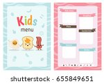kids menu card with cartoon... | Shutterstock .eps vector #655849651