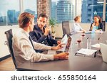 business people discussing... | Shutterstock . vector #655850164
