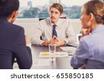 business leader listening to... | Shutterstock . vector #655850185