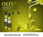 olive oil ad and olive oil... | Shutterstock .eps vector #655850311