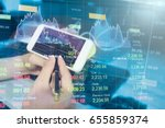 profit graph of stock market... | Shutterstock . vector #655859374