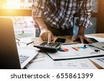 young businessman using... | Shutterstock . vector #655861399