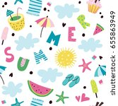 summer. seamless pattern with... | Shutterstock .eps vector #655863949
