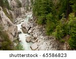 Rocky Mountain River Gorge In...