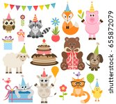set of different animals on... | Shutterstock . vector #655872079