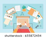 top view of busy business woman ... | Shutterstock .eps vector #655872454