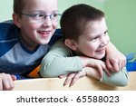 Постер, плакат: two little brothers happy