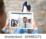 concept of online taxi service. ... | Shutterstock . vector #655882171