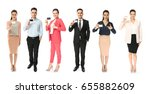 group of people holding blank... | Shutterstock . vector #655882609